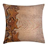 Ambesonne Western Throw Pillow Cushion Cover, Rusty Stars on Wooden Background Aged Antique Vintage Country Design, Decorative Square Accent Pillow Case, 16 X 16 Inches, Dark Orange Warm Taupe