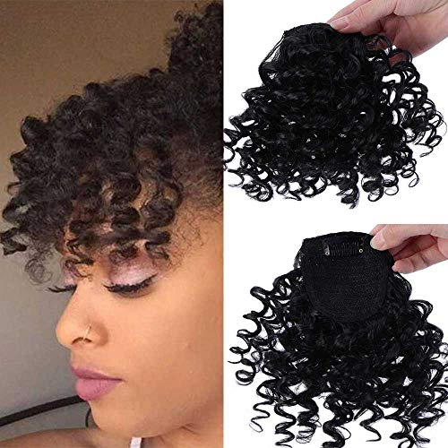 DIFEI Creative 2019 New Afro Kinky Curly Hair Bangs Can Be Hair Closure Chignons Puff Drawstring Ponytail in Hair Extension for Black Women (Bangs)