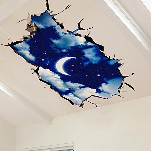 1 opinioni per Creativo cielo luna notte 3D adesivi murali tridimensionale vivente adesivi
