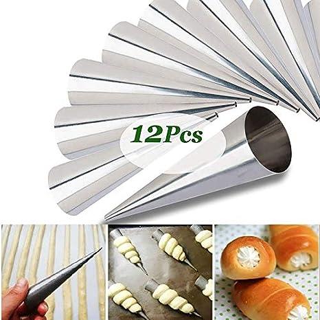 Moldes para repostería de acero inoxidable con forma de cono danés de 4,7 pulgadas