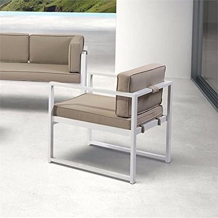 Amazon.com: brika Home Patio Brazo Silla en color blanco y ...