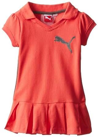 PUMA Little Girls' Short Sleeve Polo Dress, Sunset Orange, 2T
