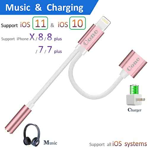 iphone 7 / 7 plus / 8 / X adapter, (Support iOS 10.3, iOS 11)Cone 2 in 1 Lightning Adapter and Charger, Lightning to 3.5mm Aux Headphone Jack Audio Adapter for iphone X, 8, 8 plus, 7 plus(Rose Gold)
