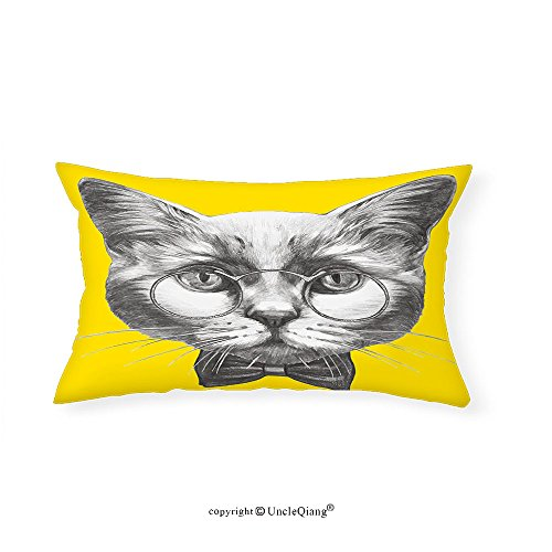VROSELV Custom pillowcasesAnimal Hand Drawn Portrait of Cute Cat with Glasses and Bow Tie Sketch Hipster Print for Bedroom Living Room Dorm Yellow Grey White(12''x24'') by VROSELV