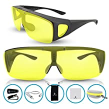 Knight Visor Fitover Wraparounds Polarized Night Driving HD Glasses for Men and Women with Flip up Anti Glare Lens (Black, Yellow)
