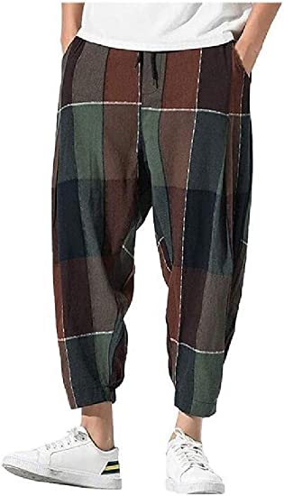 AngelSpace Mens Chinese Style Summer Loose Fit Plaid Big & Tall Joggers Pants