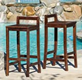Dining Room Furniture Mahogany Stained Wood Bar Stools (Set of 2)