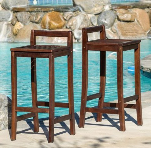 Great American Bar Stools Oak Bar Stools (Dining Room Furniture Mahogany Stained Wood Bar Stools (Set of 2))