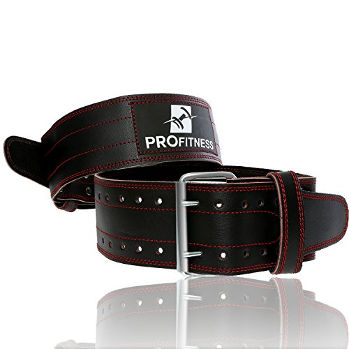 Leather Workout Belt by ProFitness Large Black/Red Premium Grade Heavy Duty Adjustable...