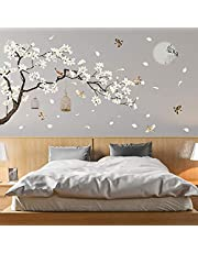 """LiveGallery White Peach Blossm Flowers Wall Decals Removable DIY Tree Branches Birds Saying Art Decor Wall Stickers Murals for Living Room TV Background Kids Girls Rooms Bedroom 8 Sheets of 12""""x18"""""""