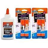 Elmer's bundle Washable Liquid School Glue, White, Dries Clear, 4 fl oz Plus Disappearing Purple Elmer's School Glue Stick, 6g, 4pk