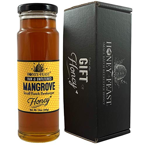 Honey Feast - Florida Beach Mangrove Honey |American Organic floral sources | 12 ounces | Unfiltered & Pure | Local honey to Sanibel Island, Port Charlotte, Melbourne and Cocoa Beach. (Best Gifts From Florida)