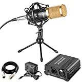 Neewer Professional Audio Condenser Microphone with Mic Shock Mount, 48V Phantom Power Supply, XLR 3 Pin Microphone Cable, Iron Mini Desktop Tripod for Home Studio Sound Recording,Broadcasting(Gold)