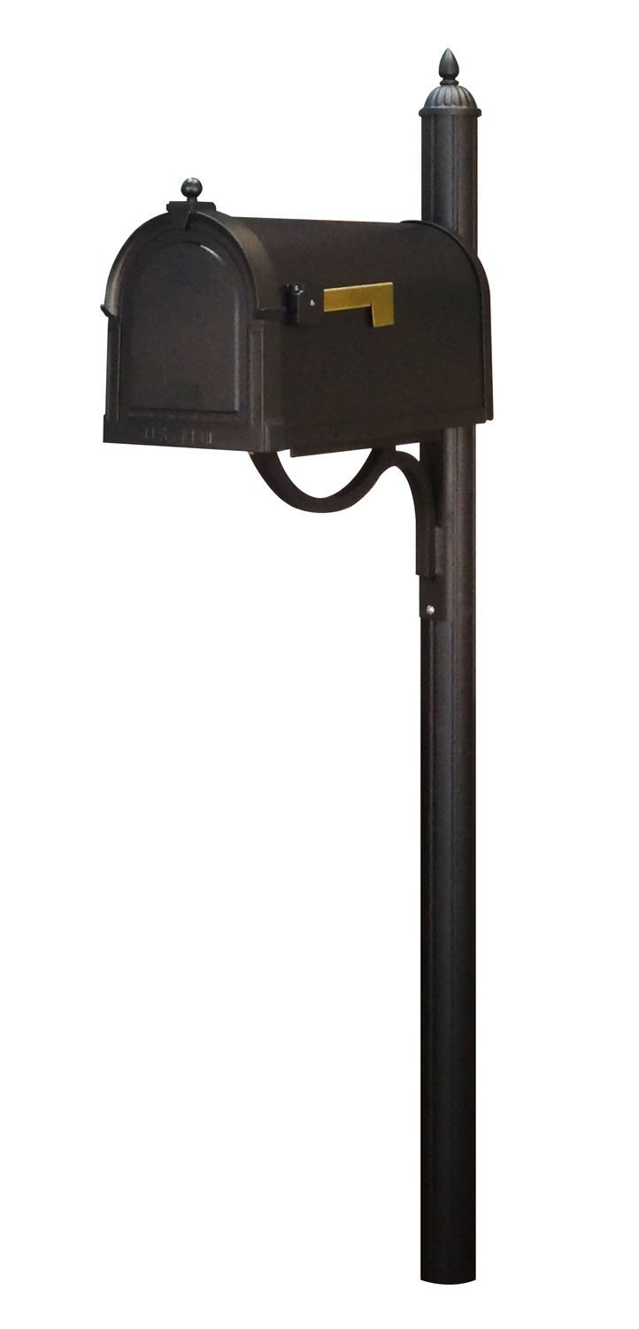 Special Lite Berkshire Curbside Mailbox with Richland Mailbox Post - Black