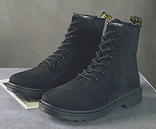 Ranger À Mode Lacets Motards Noir Femme Aisun Bottines OqXn4674
