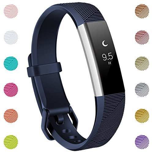 (Maledan for Fitbit Alta/Alta HR and Fitbit Ace Bands, Replacement Accessories Wristbands for Fitbit Alta HR/Alta/Ace, Navy Blue, Small)