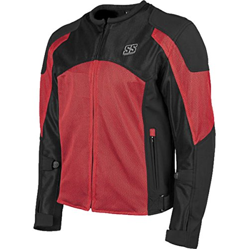 Speed and Strength Midnight Express Mesh Men's Street Motorcycle Jacket - Red/Black / X-Large - Mens Mesh Street Motorcycle Jackets