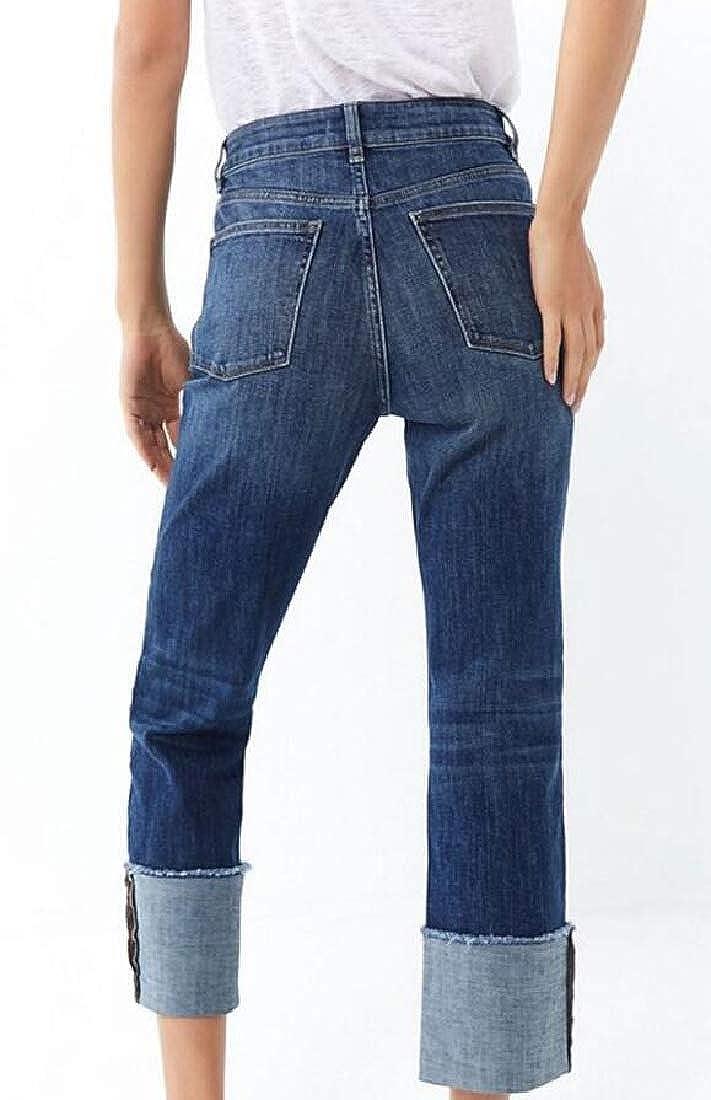 desolateness Women Casual High Waist Denim Pants with Pocket Elastic Waist Jeans
