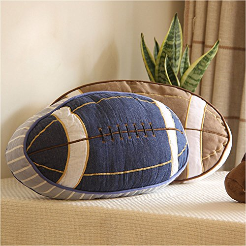 WuKong USA Rugby Shaped Throw Pillow American Football Popular Sports Oval Cushion (blue)