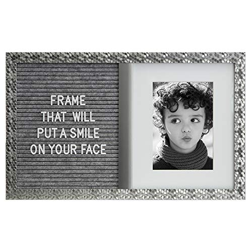 5x7 Picture Frame - Photo Board - silver frame- Home Decor - Announcement Board- Nursery Decor- Best Friend picture friend- Decorative Frame 5x7 with mat - Picture frame & 340 two color letters