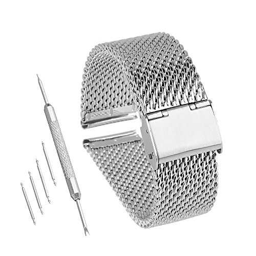 Bewish 18mm-24mm Stainless Steel 1mm Mesh Watch Band Replacement Strap Adjustable Hook Buckle Silver (20mm) by Bewish