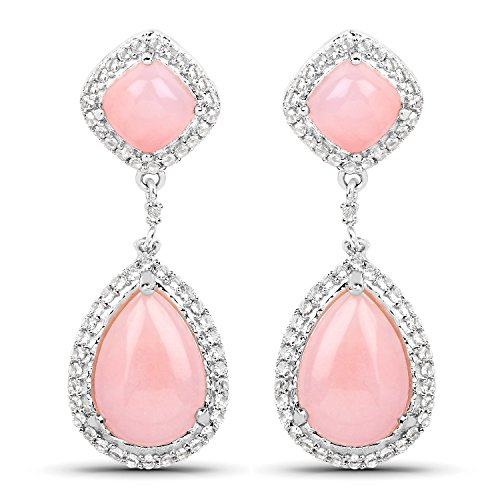 8.33 Carat Genuine Pink Opal and White Topaz .925 Sterling Silver Earrings