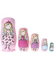 siwetg 5 muñecas de ángel Princesa Rusas de Madera Matryoshka muñecas de Juguete para niños Regalo