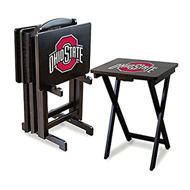 Imperial Officially Licensed NCAA Foldable Wood TV Tray Table Set with Stand, Ohio State Buckeyes