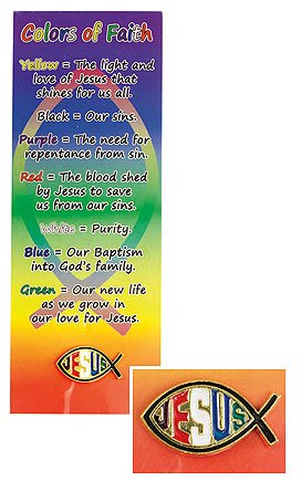 Religious Gift Rainbow Ichthus Jesus Christ 1 Inch Gold Tone Lapel Pin with Colors of Faith Bookmark