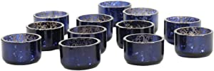 Koyal Wholesale Mercury Tealight Candle Holders, 12-Pack Set, Petite Aged Vintage Glass Candle Containers for Tea Light Candles, Battery Operated Tealight Candles, Tealight Votives (Navy Blue)