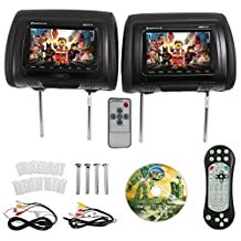 Rockville RDP711-BK 7-Inch Black Car Headrest Monitors with DVD Player/USB/HDMI Plus Games
