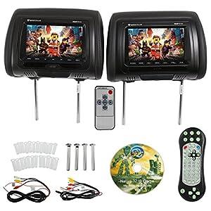 "Rockville RDP711-BK 7"" Black Car Headrest Monitors w/DVD Player/USB/HDMI+Games"