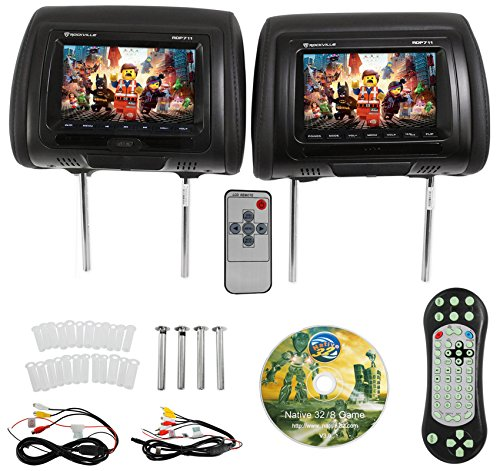 "Car Dvd Headrest (Rockville RDP711-BK 7"" Black Car Headrest Monitors w/DVD Player/USB/HDMI+Games)"