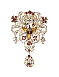 Ever Faith Women's Austrian Crystal 5.1 Inch Party Flower Bouquet Tear Drop Brooch Brown Gold-Tone