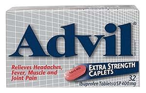 Advil Extra Strength Caplets (32 Count) 400 mg ibuprofen, Temporary Pain Reliever / Fever Reducer