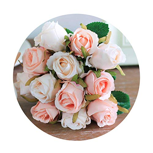 Artfen Artificial Rose Flowers Simulation Rose Wedding Bouquets Fake Floral Rose Flower Silk Flower Hand Tied Bouquet Pink