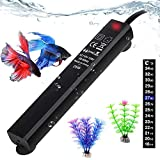 Betta Fish Tank Heater, 25W Mini Aquarium Heaters with 2 Artificial Plants 1 Stick-on Thermometer Strip Energy-efficient…