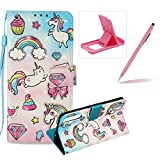 Rope Leather Case for Huawei P20 Pro,Wallet Leather Case for Huawei P20 Pro,Herzzer Stylish Luxury 3D Special Effects [Rainbow Pony Pattern] Bookstyle Premium Smart Magnetic Full Body Soft Rubber Flip Stand Case with Card Holder Slots