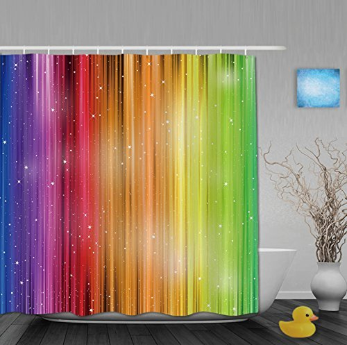 Watercolor Rainbow Stripes Design Bathroom Shower Curtains Waterproof Midewproof Polyester Fabric - Stripes Curtain Rainbow