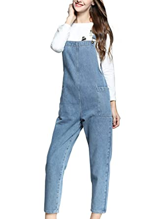 3e7fe885e357 Amazon.com  Gooket Women s Regular Fit Denim Dungarees Long Overalls  Jumpsuit Playsuit Jeans Trousers  Clothing