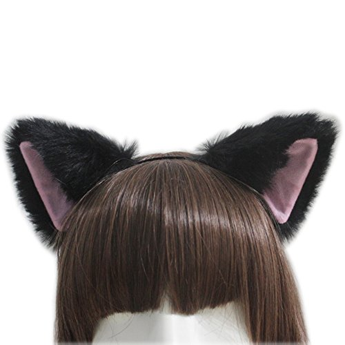 E-TING Cat Fox Long Fur Ears Anime Cosplay Headband Halloween Cosplay Party Costume ( Black with Pink inside (Halloween Costume Parties)