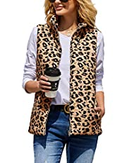 CNJFJ Womens Leopard Print Vest Lightweight Outdoor Puffer Vests with Pockets