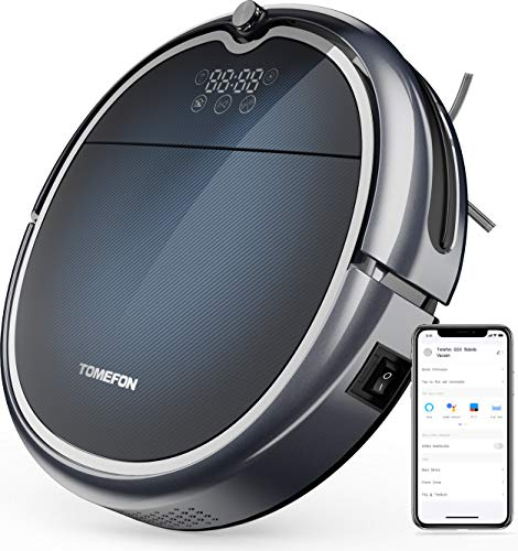 Tomefon G50 Robot Vacuum Cleaner with Wi-Fi Connectivity, 1500Pa Suction, Quiet, Self-Charging Robotic Vacuum Cleaner for Hard Floors to Carpets