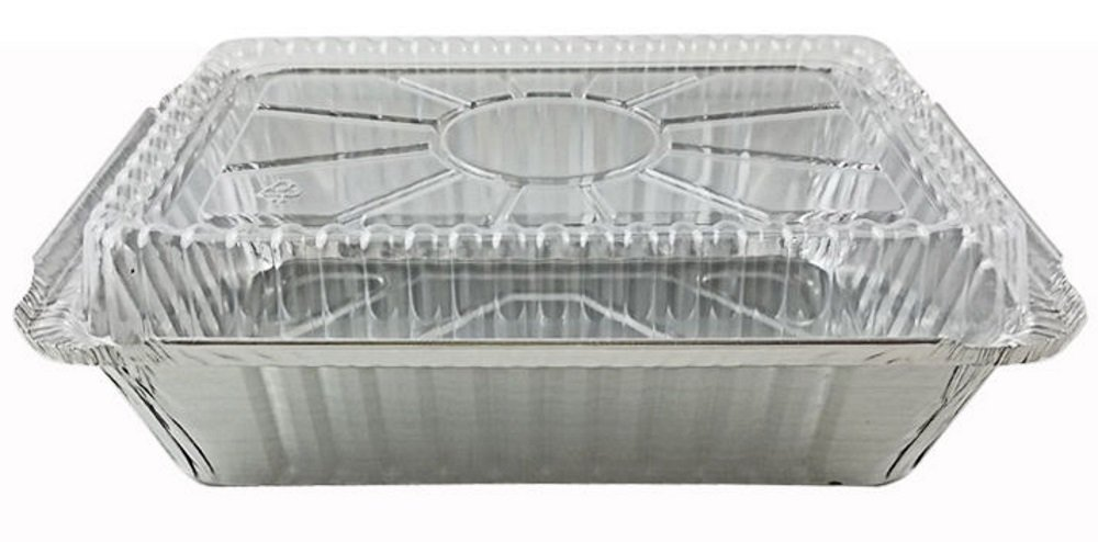 Pactogo 2 1/4 lb. Oblong Deep Aluminum Foil Take-Out Pan with Clear Plastic Dome Disposable Containers 8.44'' x 5.94'' x 1.81'' (Pack of 500 Sets)