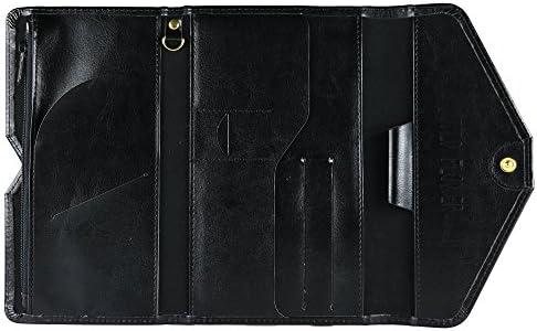 Large All-In-One Large Capacity RFID Blocking Travel Wallet Black Multi-Purpose Passport Holder and Organizer