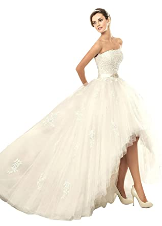 JoyVany Tulle High Low Wedding Dress For Bride Strapless Gowns Ball Gown Ivory Size