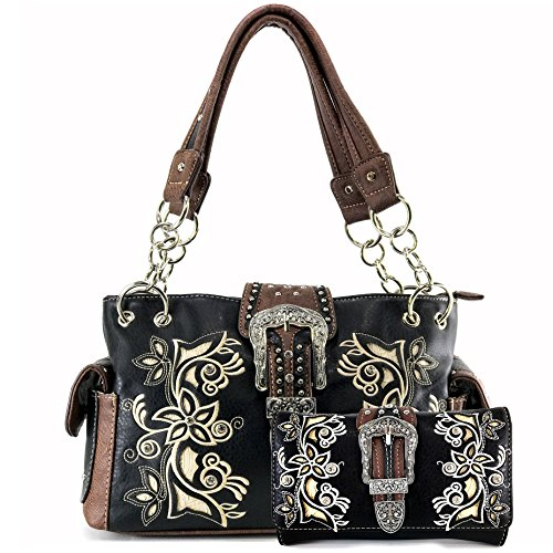 ne Buckle Floral Embroidery Laser Cut Wristlet Trifold Wallet Attachable Long Strap (Black Handbag Wallet Set) (Floral Buckle Set)