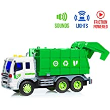 Trash Truck Toy - Friction Powered Toy Trucks with Lights & Sounds for Kids