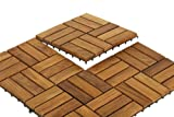 "Bare Decor BARE-WF2009 Solid Teak Wood Interlocking Flooring Tiles (Pack of 10), 12"" x 12"", Brown"