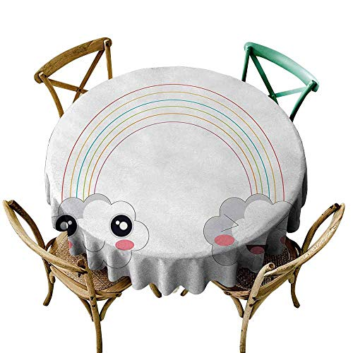 Zmlove Anime Antifouling Tablecloth Two Clouds and a Rainbow Happy Face Expressions Japanese Design for Kids Nursery Washable Tablecloth Multicolor (Round - 67